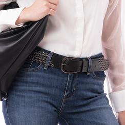 Cintura nera in eco-pelle con borchie, Abbigliamento, 144010320EPNEROUNI, 002a