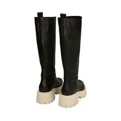Stivali chunky neri in pelle, tacco 5 cm, Primadonna, 177261044PENERO036, 003 preview