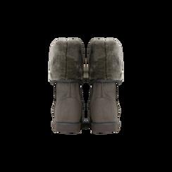 Scarponcini invernali scamosciati grigi con risvolto in eco-fur, Scarpe, 125001204MFGRIG036, 003 preview