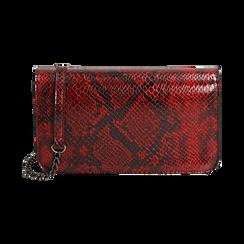 Pochette rossa in eco-pelle snake print,