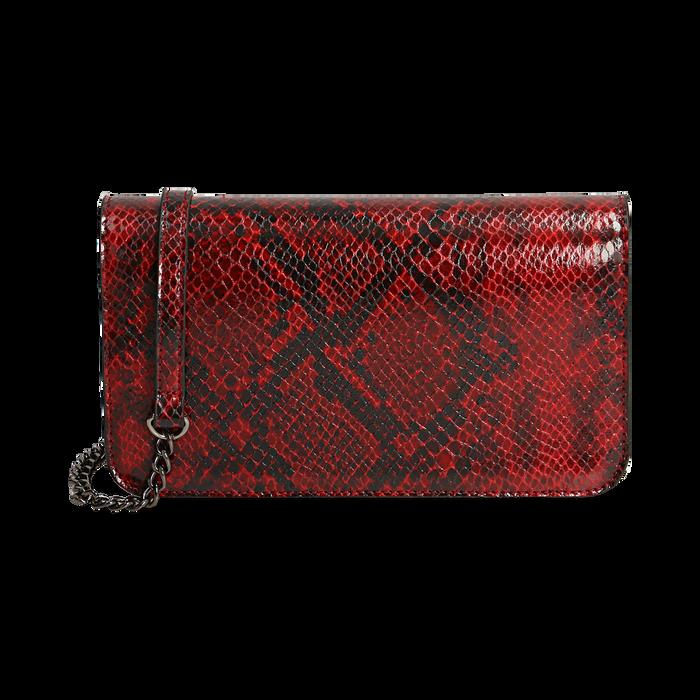 Pochette rossa in eco-pelle snake print, Primadonna, 145122779PTROSSUNI