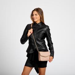 Pochette con tracolla rosa nude in ecopelle vernice, profili mini-borchie, Borse, 123308852VENUDEUNI, 004 preview