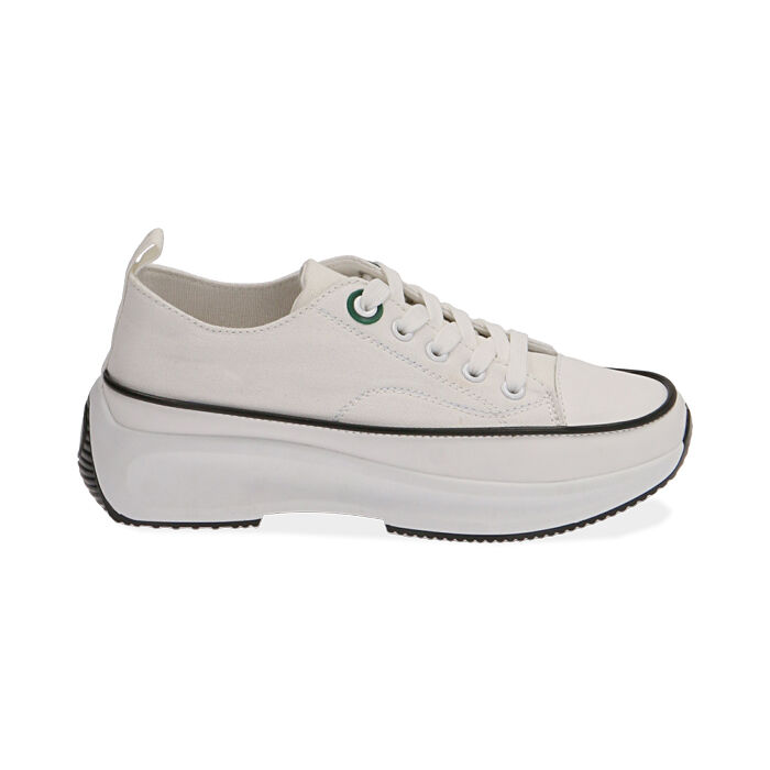 Sneakers chunky bianche in canvas, Primadonna, 17K910193CABIAN035