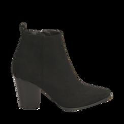 Ankle boots neri in microfibra, tacco 8,50 cm , Primadonna, 160585965MFNERO035, 001a