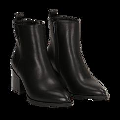 Ankle boots neri in eco-pelle, tacco 6,5 cm , Stivaletti, 143020501EPNERO036, 002a