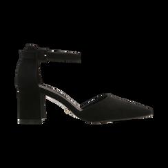 Décolleté nere con maxi cinturino, tacco 7,5 cm, Scarpe, 122166910MFNERO, 001 preview