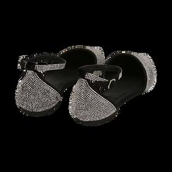 Bailarinas con brillantes de microfibra en color negro, Zapatos, 154968041MPNERO037, 004 preview