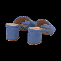 Mules azzurre in microfibra, tacco 6,50 cm , Scarpe, 134956151MFAZZU036, 004 preview