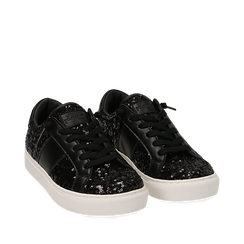 Zapatillas color negro con lentejuelas , Primadonna, 162619071PLNERO035, 002a