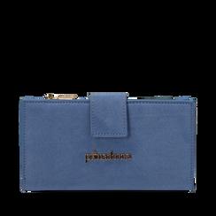Portafogli azzurro in microfibra, Primadonna, 155122158MFAZZUUNI, 001a