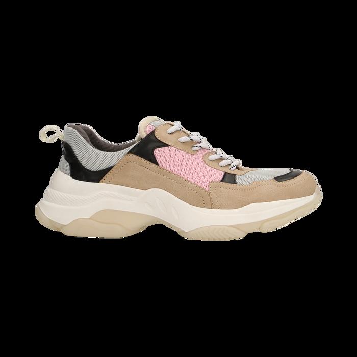 Sneakers beige dad shoes, Scarpe, 124180229TSBEIG