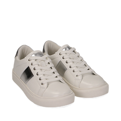 Sneakers de ecopiel en color blanco, 152619072EPBIAN035, 002a