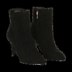 Ankle boots a punta neri in microfibra, tacco 8,5 cm , Stivaletti, 141764344MFNERO035, 002 preview