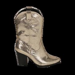 Botas camperas de ecopiel estampado de serpiente en color dorado, tacón 8 cm, Zapatos, 151198105EVOROG036, 001a