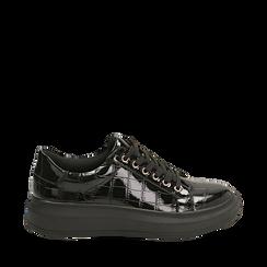 Sneakers nere in vernice effetto coccodrillo, suola 4 cm , Scarpe, 142019051VENERO036, 001a