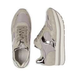 Sneakers grigie in microfibra con maxi-suola platform, Scarpe, 132899261MFGRIG036, 003 preview