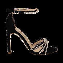 Sandali neri in raso con strass argento, tacco stiletto 11 cm,