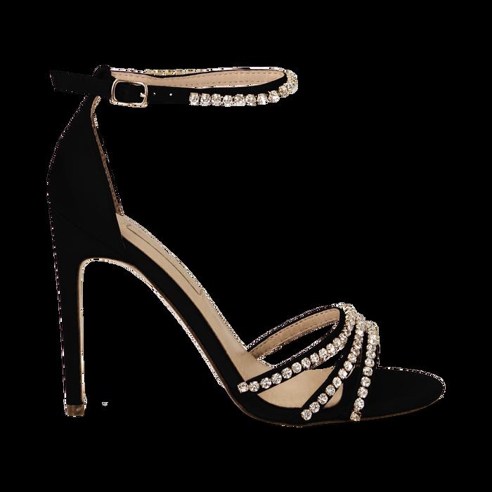 Sandali neri in raso con strass argento, tacco stiletto 11 cm, Scarpe, 132120689RSNERO035