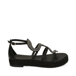Sandali neri in laminato, Primadonna, 154965221EPNERO036, 001a