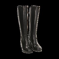 Stivali neri in pelle, tacco 7,50 cm, Primadonna, 167738002PENERO036, 002 preview