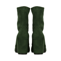 Ankle boots verdi in microfibra, tacco 7,5 cm , Stivaletti, 143072170MFVERD036, 003 preview