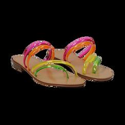 Sandali flat multilistino fluo multicolor in pvc, Primadonna, 134950613PVMULT036, 002 preview