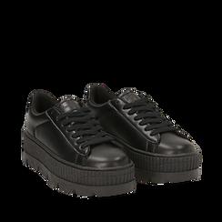 Sneakers platform nere in eco-pelle, zeppa 5 cm, Scarpe, 142618776EPNERO036, 002a