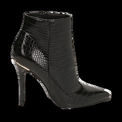Ankle boots neri stampa cocco, tacco 11 cm , Stivaletti, 142168616CCNERO035, 001a