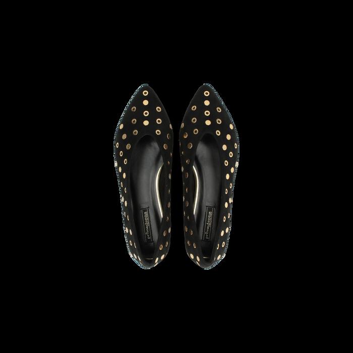 check out f0233 b7bd8 Ballerine nere in microfibra scamosciata e mini-borchie, tacco basso