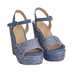 Sandali azzurri in rafia, zeppa 12 cm , Zapatos, 154978888RFAZZU038, 002a