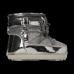 Scarponcini da neve argento dettagli in vernice e glitter, Primadonna, 124106721GLARGE, 001 preview