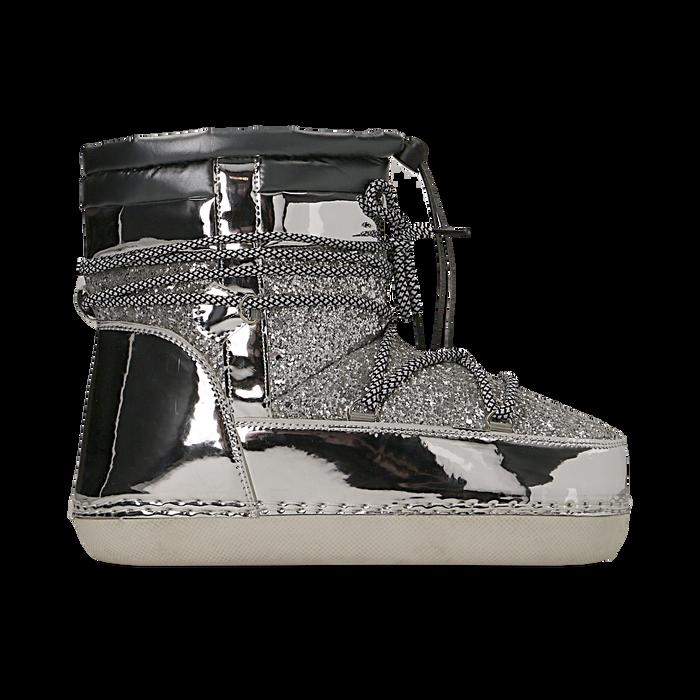 Scarponcini da neve argento dettagli in vernice e glitter, Primadonna, 124106721GLARGE