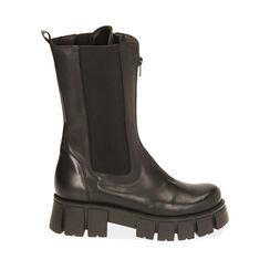 Botines Chelsea de piel negra, tacón 5 cm, Primadonna, 18L603082PENERO035, 001a