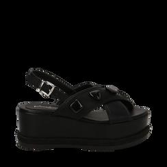 Sandali platform neri in eco-pelle con gemme, zeppa 7 cm , Scarpe, 132147682EPNERO035, 001a