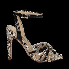 Sandali multilistino neri in eco-pelle effetto snake skin, tacco 11 cm, Scarpe, 132120686PTNERO035, 001a
