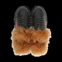 Sneakers nere con ricami animalier e dettagli in faux-fur, Primadonna, 126102020EPNERO036, 004 preview