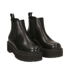 Chelsea boots platform neri in eco-pelle, suola 5,5 cm , Stivaletti, 140619239EPNERO035, 002a