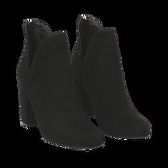 Ankle boots neri in microfibra, tacco 9 cm , Stivaletti, 142708223MFNERO035, 002a