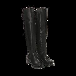 Overknee neri in eco-pelle, tacco 4 cm , Stivali, 143025001EPNERO036, 002 preview