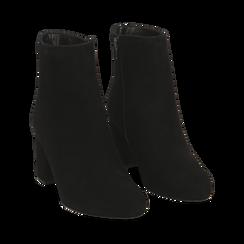 Ankle boots neri in camoscio, tacco 7 cm , Stivaletti, 14D601101CMNERO036, 002a