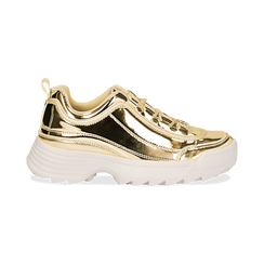 Dad shoes oro in vernice mirror con maxi-suola, Scarpe, 130101201SPOROG036, 001 preview