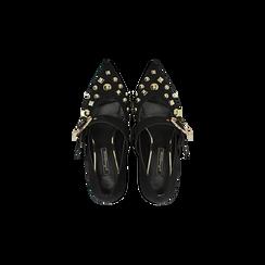 Décolleté nere con maxi-fibbia e boules, tacco 6,5 cm, Scarpe, 122196695MFNERO, 004 preview