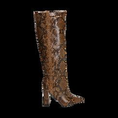 Stivali marroni in eco-pelle stampa pitone, tacco 9,5 cm , Primadonna, 142166710PTMARR036, 001 preview