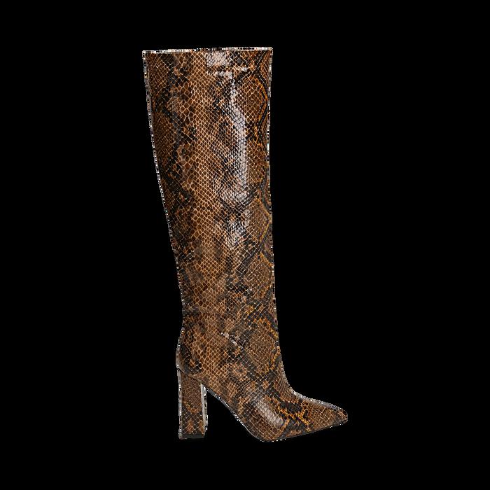 Stivali marroni in eco-pelle stampa pitone, tacco 9,5 cm , Primadonna, 142166710PTMARR036