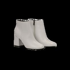 Tronchetti bianchi, tacco 7,5 cm, Scarpe, 122182021EPBIAN, 002 preview