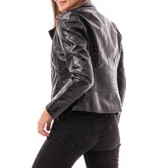 Biker jacket nera in eco-pelle effetto snake, Abbigliamento, 146582591EVNERO3XL, 002a