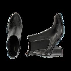Ankle boots neri in pelle, tacco 7,50 cm, Primadonna, 167738004PENERO035, 003 preview