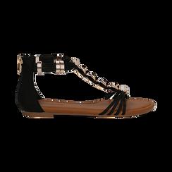 Sandali neri in raso con perle e placche oro, Primadonna, 133601505RSNERO036, 001 preview