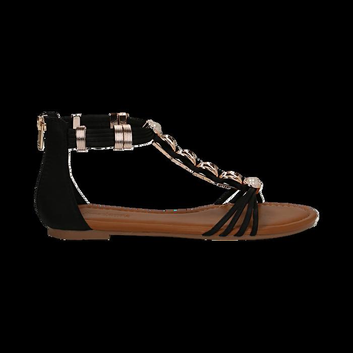 Sandali neri in raso con perle e placche oro, Primadonna, 133601505RSNERO036