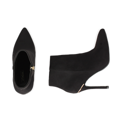 Ankle boots neri in microfibra, tacco 10,5 cm , Scarpe, 142168616MFNERO035, 003 preview